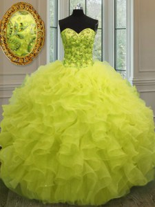 Organza Sweetheart Sleeveless Lace Up Beading and Ruffles Ball Gown Prom Dress in Yellow