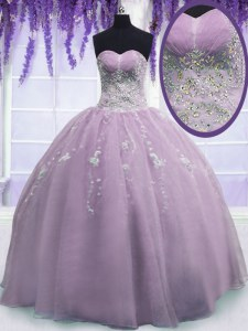 New Arrival Ball Gowns Quinceanera Gown Lilac Sweetheart Organza Sleeveless Floor Length Zipper