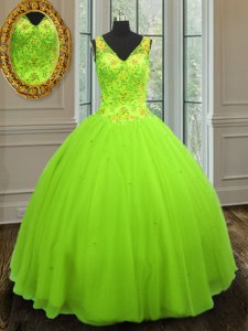 Eye-catching Straps Zipper Beading 15 Quinceanera Dress Sleeveless