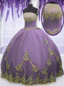 Sexy Ball Gowns Sweet 16 Quinceanera Dress Lavender Strapless Tulle Sleeveless Floor Length Zipper