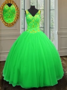Ball Gowns Quinceanera Gowns Green V-neck Tulle Sleeveless Floor Length Zipper