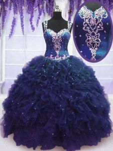 Wonderful Straps Navy Blue Zipper 15 Quinceanera Dress Beading and Ruffles Sleeveless Floor Length