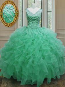 Floor Length Ball Gowns Sleeveless Apple Green Quinceanera Gowns Zipper