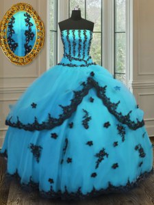 Aqua Blue Sleeveless Tulle Lace Up Quinceanera Gowns for Military Ball and Sweet 16 and Quinceanera