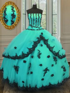 Floor Length Turquoise Quinceanera Dress Tulle Sleeveless Appliques