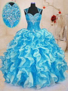 Aqua Blue Lace Up Sweetheart Beading and Ruffles Sweet 16 Dresses Organza Sleeveless