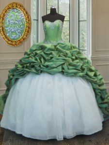 Green Sweetheart Neckline Beading and Appliques and Pick Ups 15 Quinceanera Dress Sleeveless Lace Up