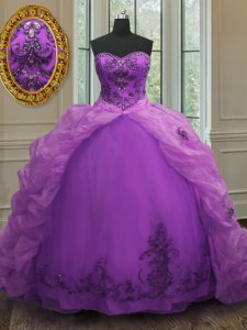 Purple Ball Gowns Sweetheart Sleeveless Organza With Train Court Train Lace Up Beading and Appliques and Pick Ups Ball Gown Prom Dress
