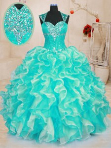 Sumptuous Sleeveless Beading and Ruffles Lace Up Quinceanera Gown