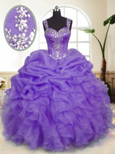 Sleeveless Zipper Floor Length Beading and Ruffles and Pick Ups Sweet 16 Quinceanera Dress