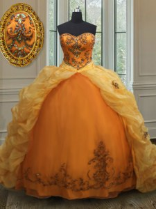 With Train Lace Up Quinceanera Gowns Orange for Military Ball and Sweet 16 and Quinceanera with Beading and Appliques and Pick Ups Court Train