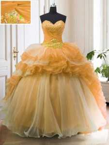 Sleeveless Sweep Train Beading and Ruffled Layers Lace Up Quinceanera Gowns