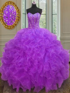 Cheap Sleeveless Organza Floor Length Lace Up 15th Birthday Dress in Purple with Beading and Ruffles