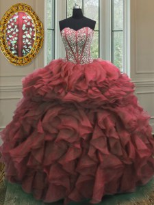 Beauteous Pink Sleeveless Beading and Ruffles Floor Length Vestidos de Quinceanera