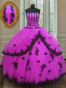 High End Fuchsia Lace Up Strapless Appliques Quinceanera Dresses Tulle Sleeveless