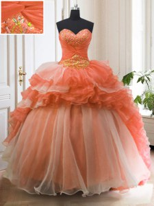 Ruffled With Train Ball Gowns Sleeveless Orange Red Sweet 16 Quinceanera Dress Sweep Train Lace Up