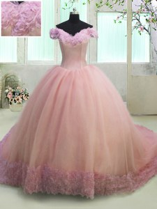Dazzling Pink Off The Shoulder Neckline Hand Made Flower Quince Ball Gowns Short Sleeves Lace Up