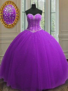 Luxurious Purple Sweetheart Neckline Beading and Sequins Quinceanera Dress Sleeveless Lace Up