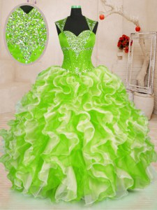 Cute Organza Sweetheart Sleeveless Lace Up Beading and Ruffles Quinceanera Gown in Multi-color