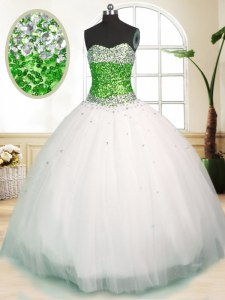Romantic Tulle Sleeveless Floor Length Quinceanera Gown and Beading