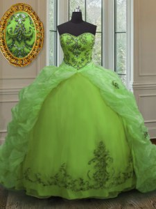 Spectacular Sleeveless With Train Beading and Appliques and Pick Ups Lace Up Quinceanera Dress with Court Train