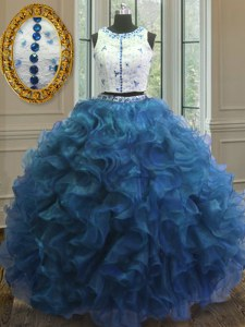 Dazzling Blue Scoop Clasp Handle Beading and Lace and Ruffles Vestidos de Quinceanera Sleeveless