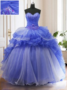 With Train Lace Up Sweet 16 Quinceanera Dress Blue for Military Ball and Sweet 16 and Quinceanera with Beading and Ruffled Layers Court Train