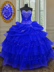 Low Price Royal Blue Lace Up Sweetheart Beading and Ruffled Layers and Pick Ups Sweet 16 Dress Organza Sleeveless