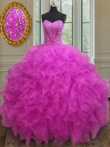 Fuchsia Ball Gowns Organza Sweetheart Sleeveless Beading and Ruffles Floor Length Lace Up Quinceanera Gown