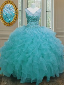 Dramatic Aqua Blue Sweet 16 Quinceanera Dress Military Ball and Sweet 16 and Quinceanera and For with Beading and Ruffles V-neck Sleeveless Zipper