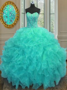 Dazzling Organza Sleeveless Floor Length Quinceanera Dresses and Beading and Ruffles