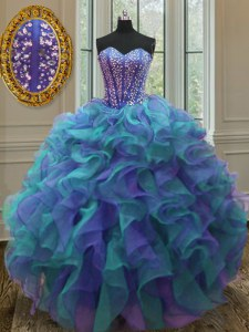 Multi-color Quinceanera Gown Military Ball and Sweet 16 and Quinceanera and For with Beading and Ruffles Sweetheart Sleeveless Lace Up