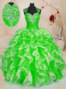 Enchanting Ball Gowns Sweetheart Sleeveless Organza Floor Length Lace Up Beading and Ruffles 15 Quinceanera Dress