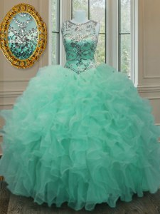 Scoop Organza Sleeveless Floor Length Ball Gown Prom Dress and Beading and Ruffles