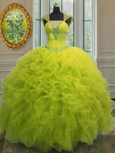 Exquisite Straps Cap Sleeves Floor Length Beading and Ruffles and Sequins Lace Up Sweet 16 Dresses with Yellow Green