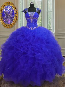Straps Cap Sleeves High Low Beading and Ruffles and Sequins Lace Up 15 Quinceanera Dress with Blue