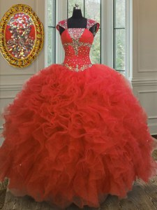 Straps Coral Red Cap Sleeves Floor Length Beading and Ruffles and Sequins Lace Up 15th Birthday Dress