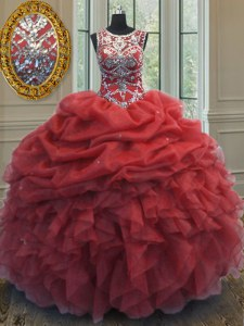 Glittering Coral Red Ball Gown Prom Dress Military Ball and Sweet 16 and Quinceanera and For with Beading and Ruffles and Pick Ups Scoop Sleeveless Lace Up