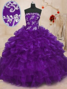 Purple Strapless Lace Up Beading and Appliques and Ruffles Sweet 16 Dresses Sleeveless
