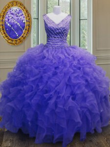 Flirting Purple Organza Zipper V-neck Sleeveless Floor Length Quince Ball Gowns Beading and Ruffles