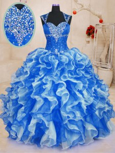 Comfortable Royal Blue Organza Lace Up Sweetheart Sleeveless Floor Length Quinceanera Gowns Beading and Ruffles