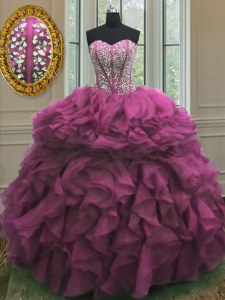 Admirable Beading and Ruffles Sweet 16 Dress Fuchsia Lace Up Sleeveless Floor Length