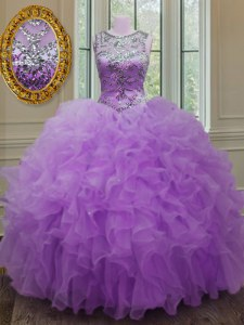 Customized Lilac Ball Gowns Scoop Sleeveless Organza Floor Length Lace Up Beading and Ruffles Quinceanera Gown