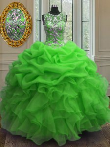 Most Popular Green Ball Gowns Organza Scoop Sleeveless Beading and Ruffles and Pick Ups Floor Length Lace Up Sweet 16 Dresses