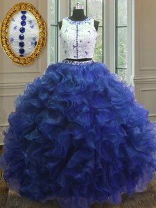 Sophisticated Ball Gowns Quince Ball Gowns Royal Blue Scoop Organza Sleeveless Floor Length Clasp Handle