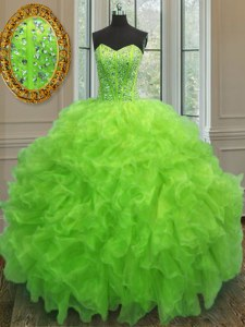 Glorious Yellow Green Sleeveless Beading and Ruffles Floor Length Vestidos de Quinceanera
