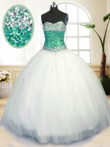 On Sale Floor Length Ball Gowns Sleeveless White Ball Gown Prom Dress Lace Up