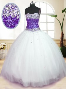Graceful Floor Length White And Purple Quinceanera Dresses Sweetheart Sleeveless Lace Up
