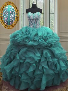 Trendy Turquoise Organza Lace Up Ball Gown Prom Dress Sleeveless Floor Length Beading and Ruffles