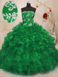 Stunning Green Sleeveless Floor Length Beading and Appliques and Ruffles Lace Up Sweet 16 Quinceanera Dress